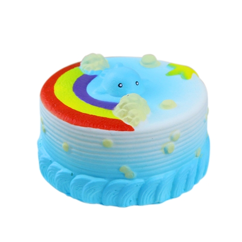 12CM Squishy Bread with Rainbow Party Home Decor Ocean Cake Cute Charm Super Slow Rising Kid Toy Gift Fun Blue