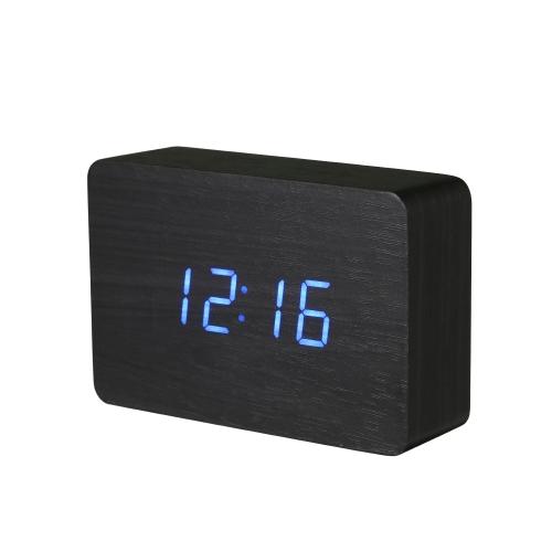 Desktop Tisch Klassisch Holz Elektronische Digital LED Uhr Alarm Einstellung Anzeige Zeit Kalender Datum Temperatur Sound Control für Home Office Decor Blau