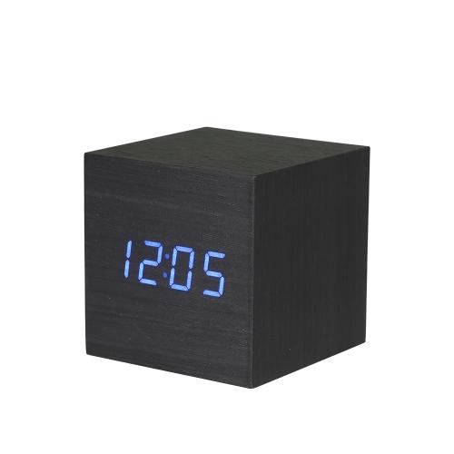 Sonidos de madera Control acústico Digital LED Despertador Vintage Pantalla electrónica Temperatura Calendario Azul