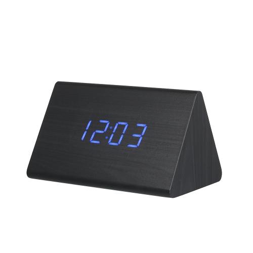 Triángulo de madera Reloj electrónico Alarma digital Tiempo Pantalla LED Sonido Control temperatura azul