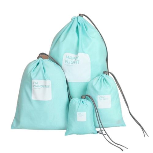 4pcs / lot Set bolsa de viaje de viaje impermeable de nylon con cordón bolsa hombres y mujeres ropa plegable Organizadores clasificados zapatos de embalaje bolsas de equipaje (amarillo)