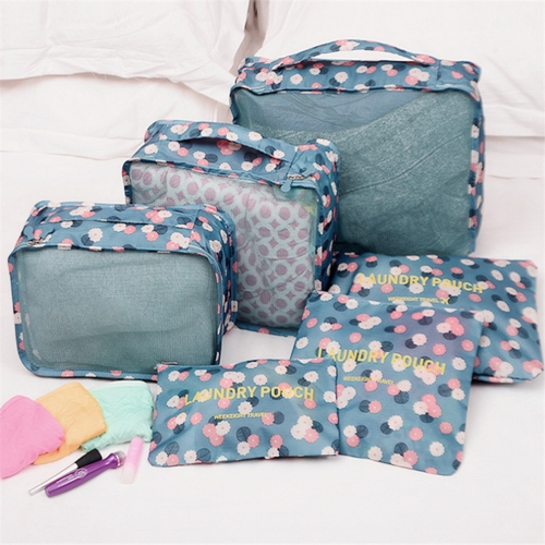 6 Pcs Household Portable Oxford Travel Storage Bags Pouches Set Multi-functional Clothing Sorting Packages Packing Cubes Waterproof Luggage Organizer (Yellow Smile)