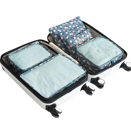 6 sztuk Przenośne torby podróżne Oxford Travel Walizki Zestaw wielofunkcyjny Odzież Sortowanie Pakiety Pakowanie kostki Wodoodporny organizer bagażu (żółty uśmiech)