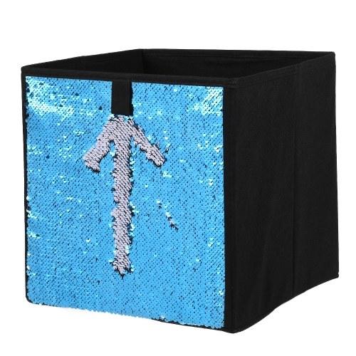 Нетканый складной большой куб Хранение БИН DIY Sequin Ящик для хранения Игрушки для дома Книги Одежда для праздников Организатор - синий