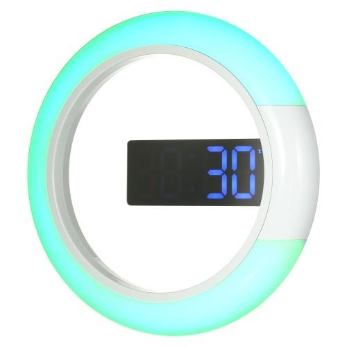 12 polegadas digital LED parede espelho temperamento despertador