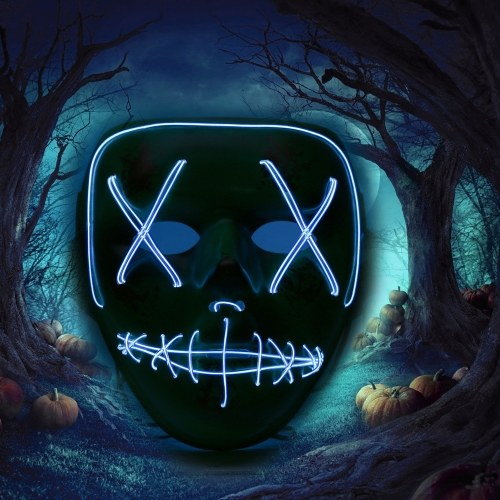 Dorośli Halloween LED Light Up Mask Halloween Kostium