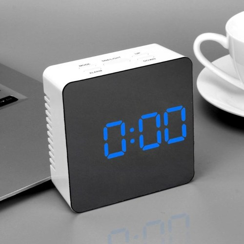 Multifunctional Plastic Mirror LED Alarm Clock Night Light
