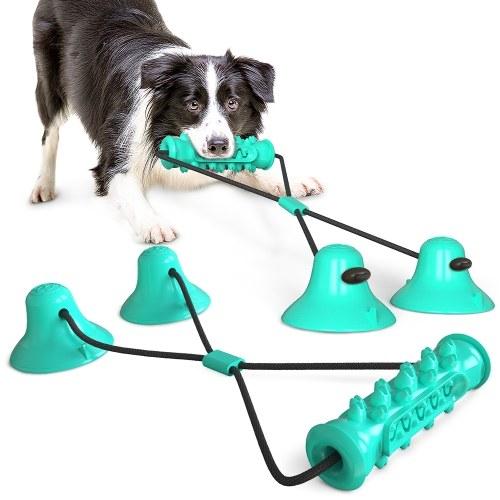 Pet Dog Molar Bite Chew Toy Dog Rope Pull Interactive Toy avec ventouse pour tirer le nettoyage des dents à mâcher