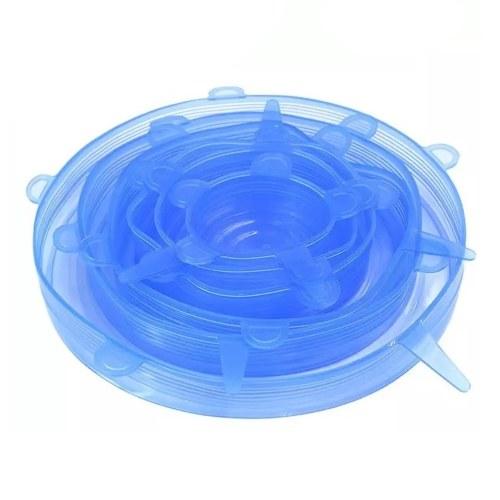 6 piezas reutilizables de silicona estiran las tapas