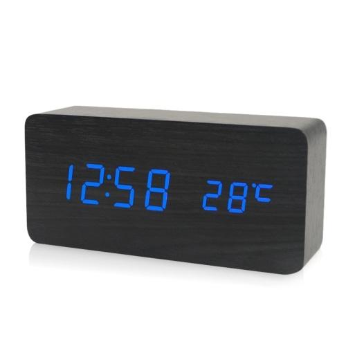 Электронный светодиодный цифровой деревянный будильник фото
