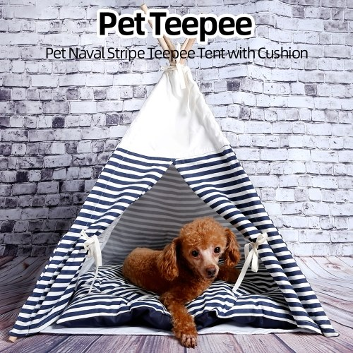 Pet Teepee Tent with Cushion Naval Stripe Teepee House con pad per cani Puppy Cats Indoor Outdoor rimovibile lavabile