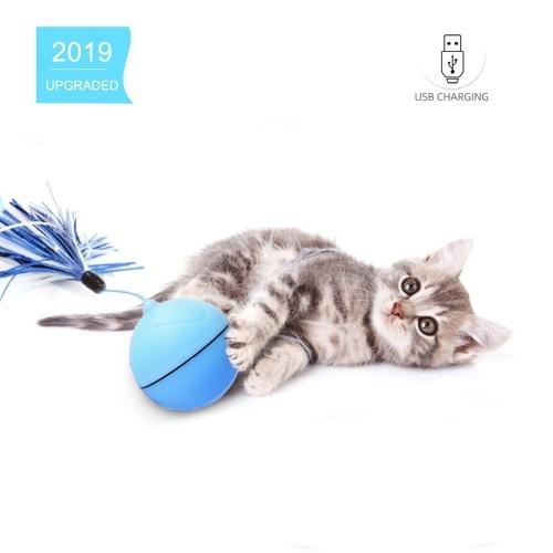 Giocattolo gatto interattivo Pallone interattivo Pallina rotante LED Light Motion Attivazione palla Giocattolo interattivo con sterzo di piume automatico