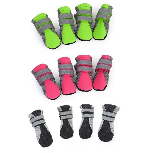 Dog Shoes Boots Soft Nonslip Sole Mesh Boots 2 Long Safe Reflective Straps Breathable 3 Set 12PCS