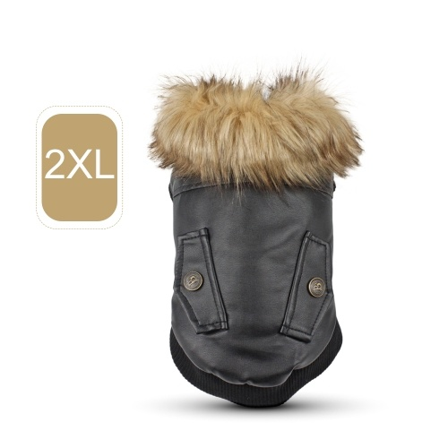 Pet Dog Leather Winter Coats Warm Puppy Jackets Clothes for Small to Medium Dogs