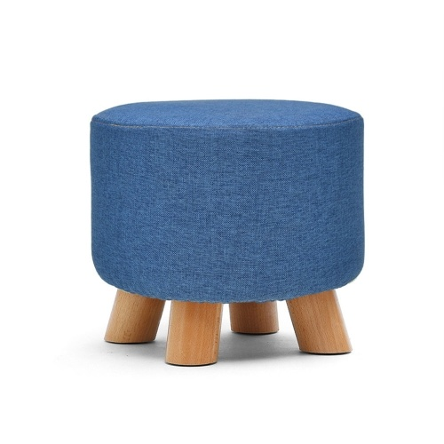 Ottoman Pouf Round Fabric Creative Solid Wood Seat Thickened Footstool Padded Foot Rest Folding Storage Seat