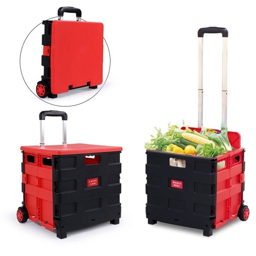 Cart Folding Shopping Bag Cart Two Wheeled Collapsible Handcart with Lid