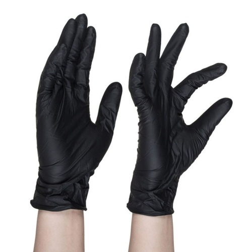 100 шт. / Упак. Черные промышленные нитриловые перчатки без пудры одноразовые текстура пальца