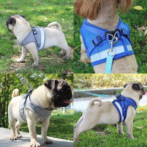 Dog Harness No-Pull Pet Harness Step-in Air Dog Harness, Soft Mesh Cat Harness, Step in Vest Harness Adjustable Outdoor Pet Vest, Reflective Harness for Pet Kitten Puppy Rabbit, (Red,L)