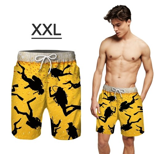 Men's Swim Trunks Quick Dry Beach Shorts with Pockets Surf Men's Swimming Shorts, Bathing Suits with Mesh Lining (Adult Size, XXL)