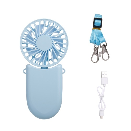 Collar Ventilador Mini ventilador de mano Ventilador de bolsillo USB con cuerda Mini ventilador portátil 3 velocidades ajustable para viajes Oficina Habitación Hogar