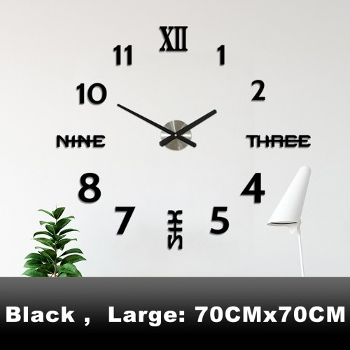 DIY Wall Clock 3D Mirror Stickers Large Wall Clock Frameless Modern Design Large Watch Silent Home Office Number Clock Decorations Gift(Black,Large)