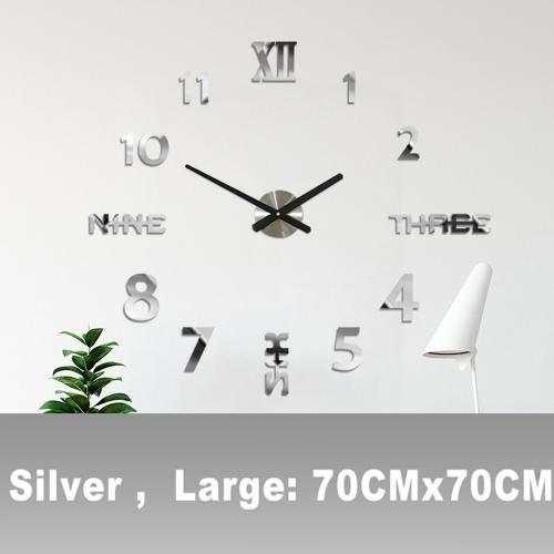 DIY Reloj de pared Espejo 3D Pegatinas Reloj de pared grande Sin marco Diseño moderno Reloj grande Silencioso Número de oficina en casa Decoraciones de reloj Regalo (Plata, Grande)