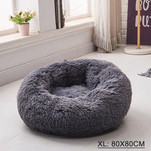 Cama para gatos y perros Cama para perros con rosquillas, cama para gatos de piel sintética ultra suave, cama redonda lavable para mascotas con autocalentamiento para gatos y perros pequeños