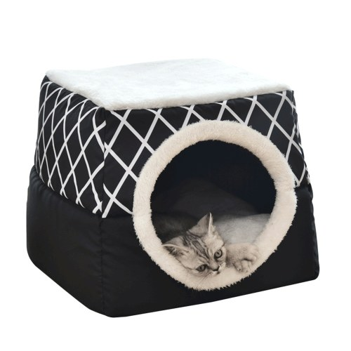 Self-Warming Cat Bed Cave 2-in-1 Foldable Dogs Cushion Bed