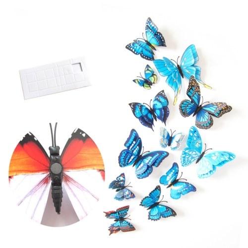 Adesivi murali 12 pezzi Adesivo murale a forma di farfalla in PVC a doppio strato