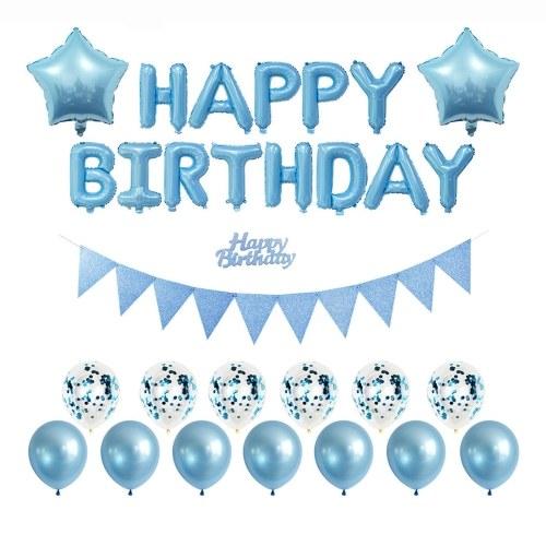 Conjunto de decorações de festa de aniversário meninos meninas mulheres bebê suprimentos de festa de aniversário balões de feliz aniversário cortinas de banner para decorações de festa de aniversário de bebê