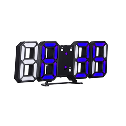 Reloj digital LED 3D Reloj de mesa electrónico Reloj despertador Relojes colgantes brillantes de pared Pantalla blanca de carcasa blanca