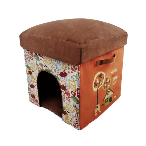 2-in-1 Multifunctional Foldable Washable Pet Cats Small Dogs Soft House Bed Nest Living Room Foot Rest Cushioned Stool Adopt for High Density Plate
