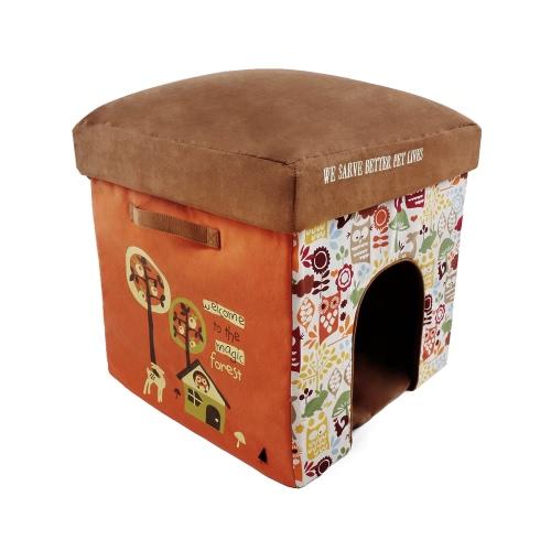 2-в-1 Многофункциональные складные моющиеся кошки для домашних животных Маленькие собаки Мягкая кровать для постели для кровати Жилая комната Нога для отдыха Мягкая табуретка Пригодится для пластин высокой плотности
