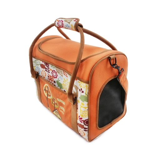 Premium Tragbare Pet Carrier Baumwolle Leinwand Tier Reisen Outdoor-Tragetasche mit starren Einsatz Panel Eingebaute Sicherheitsschließe Seitentasche für kleine Hunde Katzen 42 * 23 * 32 cm / 16,5 * 9 * 13 Zoll