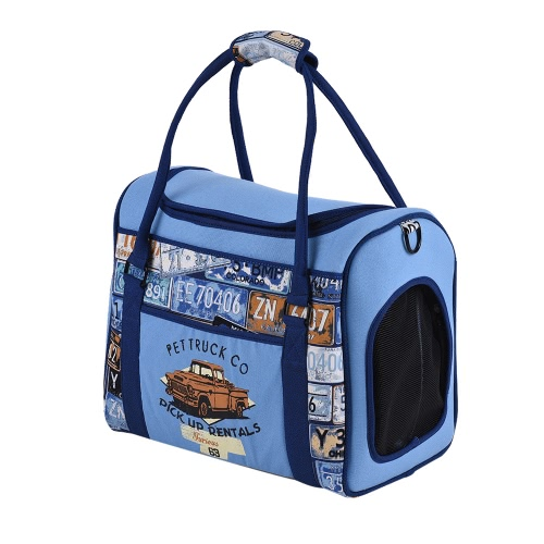 Premium Portable Pet Carrier Cotton Canvas Animal Travel Outdoor Tote Bag with Rigid Insert Panel Built-in Safety Clasp Side Pocket for Little Dogs Cats 42 * 23 * 32cm / 16.5 * 9 * 13in