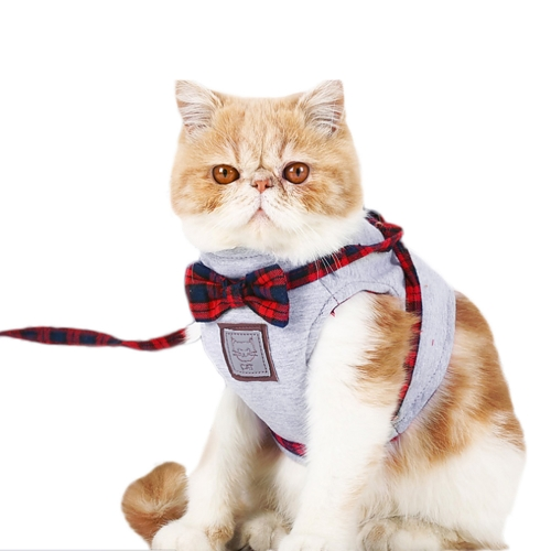 Outdoor Cats Vest Harness & Leash Set Comfortable Soft Bowknot Harness Jacket Vest With Grid Strap Lead Traction Rope for Cats Safety Walking Running