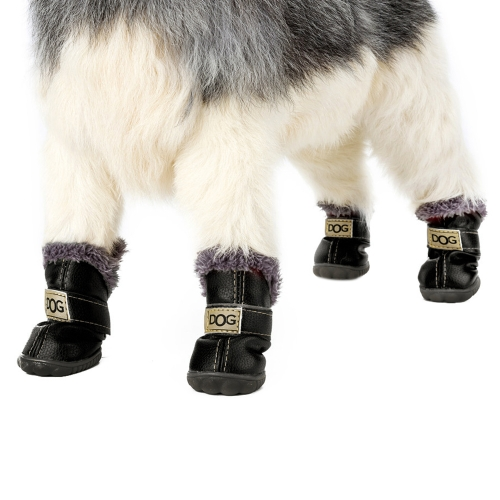 4-pcs Set Puppy Pet Dog Cat Shoes Boots Paw Protectors Winter Warm Water-resistant PU Antiskid Rubber