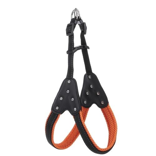 Dog Harness No-Pull Adjustable Rhinestone Diamond Chest Straps Metal Hooks Leash