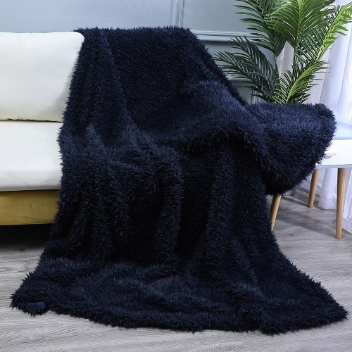 Long Fur Throw Blanket Faux Fluffy Blanket