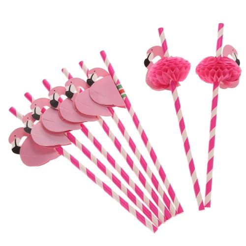 50pcs / Cute Food-Papier Strohhalme für Geburtstag, Hochzeit, Baby-Dusche-Feier und Party-Multifunktions-Strohhalme mit Flamingo Dekoriert Set