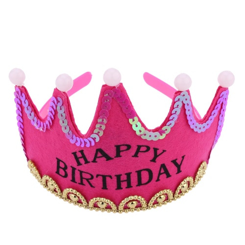 ANSELF Birthday Party Crown Hat Happy Birthday Head Band Cap with Led Light Decoration Supply