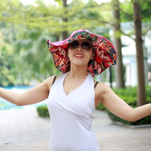 New Fashion Nylon BT Sun Hats Large Brimmed Bohemian Big Flower Hat for Woman Summer BT Music Hat Wireless Hands-Free Smart Beach Cap Headphone Headset Speaker Mic