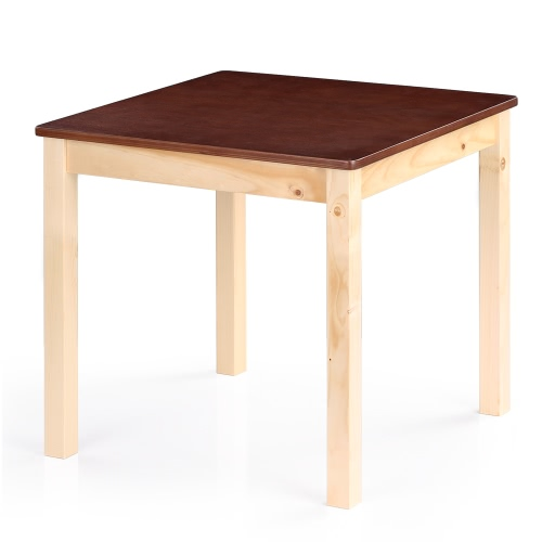 iKayaa Cute Wooden Kids Table Solid Pine Wood Square Toddler Children Activity Table for Playing Learning