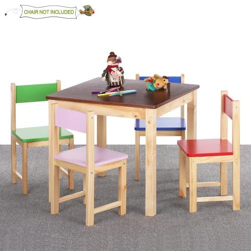 iKayaa tabla lindo de los niños de madera Mesa de Actividad de los niños del niño de la plaza sólido de madera de pino para el Aprendizaje a Jugar