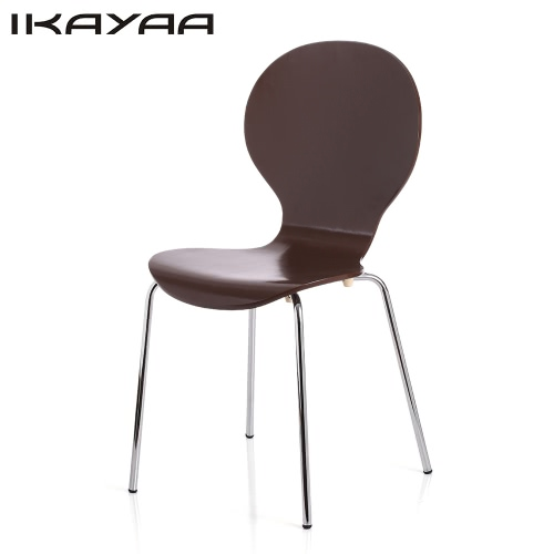 2PCS/Set of 2 Stackable Pisa Bentwood Dining Chair Stool Round Shell Shaped W/ Chromed Iron Legs Solid Birch Wood 150KG Capacity