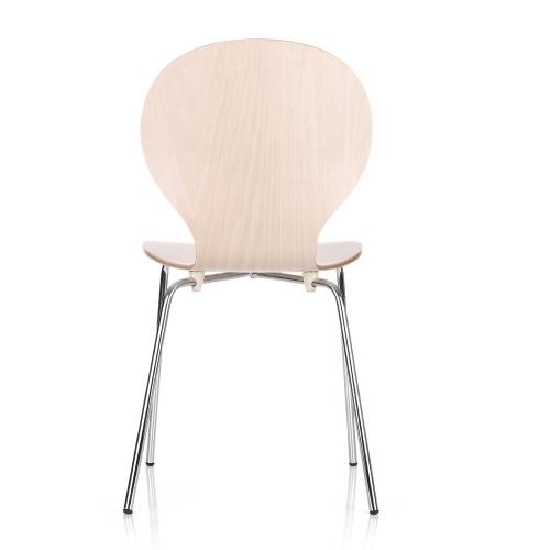 2PCS / Set di 2 impilabile Pisa Bentwood Sedia da pranzo Sgabello rotonda a forma di conchiglia W / gambe cromate ferro solido legno di betulla 150KG Capacità