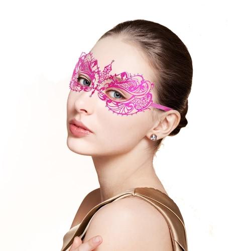 Festnight Elegant Rose Laser Cut Metal Half Mask with Rhinestones Masquerade Ball Halloween Mask Fancy Gift