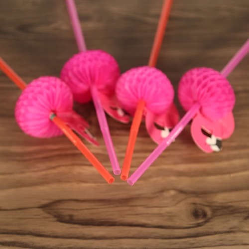 50pcs/set Cute Plastic Straws for Birthday Wedding Baby Shower Celebration and Party Multifunctional Straws with Flamingo Decorated
