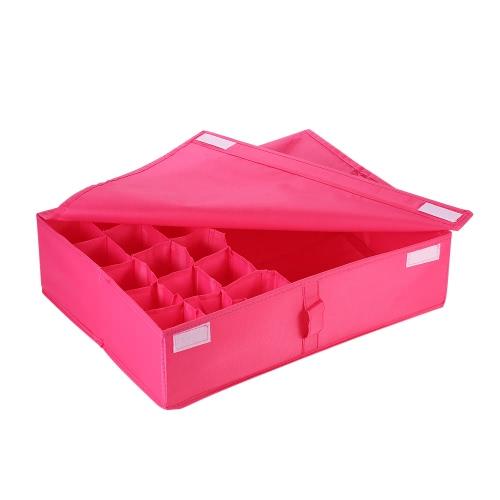 Multifuncional tela impermeable Oxford tejido plegable sujetador ropa interior caja de almacenamiento de calcetines empates armario gaveta organizador contenedor divisor con cubierta - verde