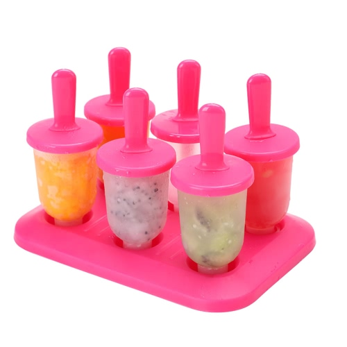6 Push Up Ice Cream Popsicle Maker Molds Sets DIY Round Shape Frozen Icy Ice Lolly Holder Tray Cool Summer Storage Box Snacks Container